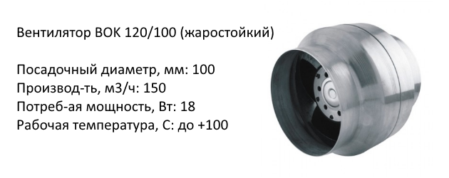 Вентилятор BOK 120/100 (жаростойкий)